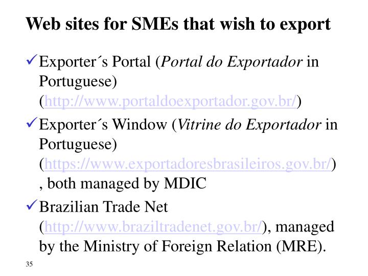 Web sites for SMEs that wish to export