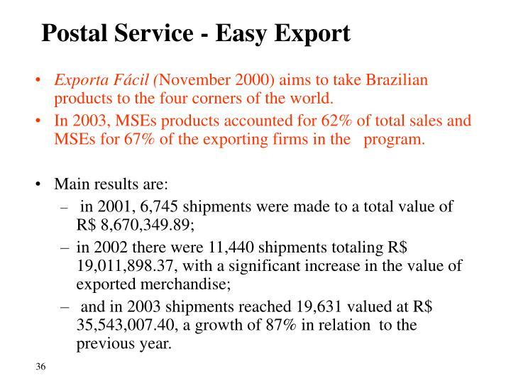 Postal Service - Easy Export