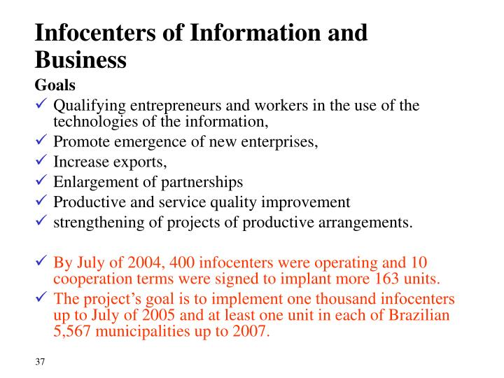 Infocenters of Information and Business