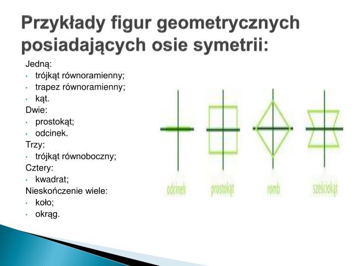 Przykłady figur geometrycznych posiadających osie symetrii: