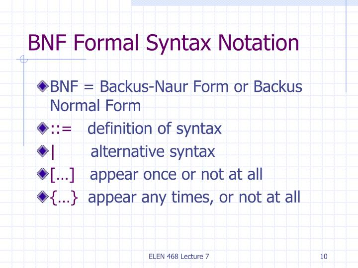 BNF Formal Syntax Notation