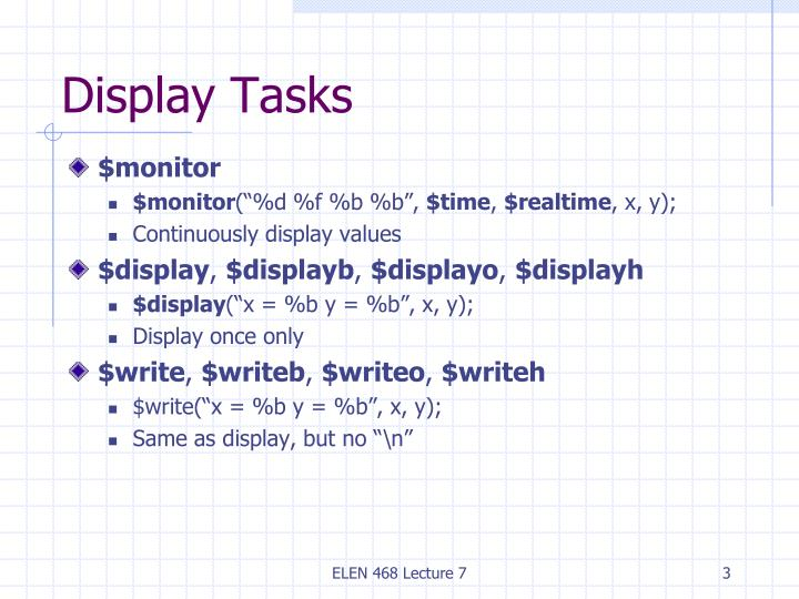 Display tasks