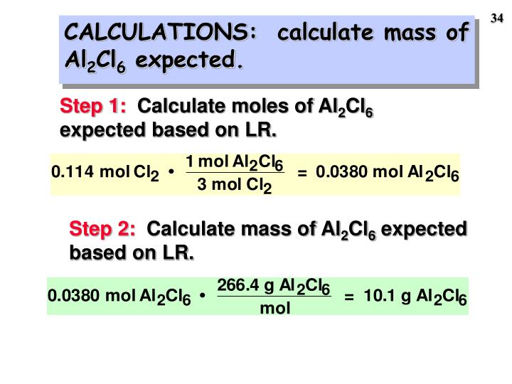 CALCULATIONS:  calculate mass of