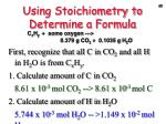 using stoichiometry to determine a formula2