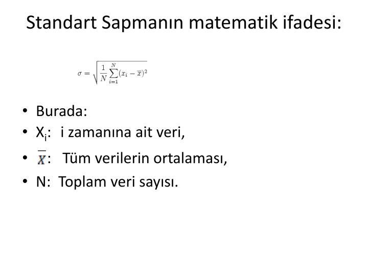 Standart Sapmanın matematik ifadesi: