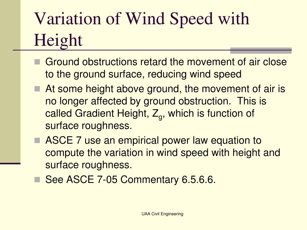 Variation of Wind Speed with Height