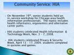 community service hia