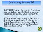 community service ot1