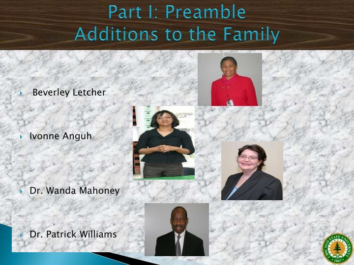Part I: Preamble