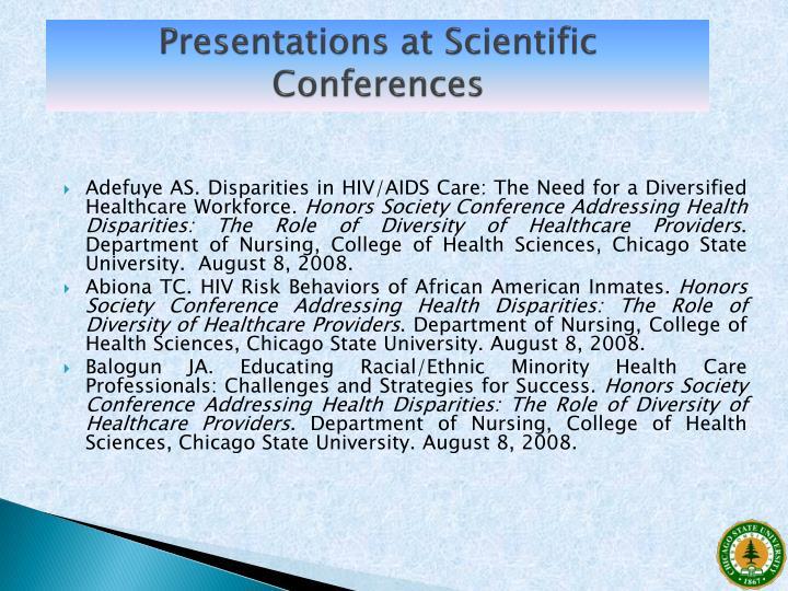 Presentations at Scientific Conferences