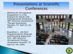 presentations at scientific conferences8