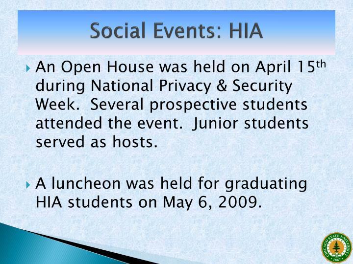 Social Events: HIA
