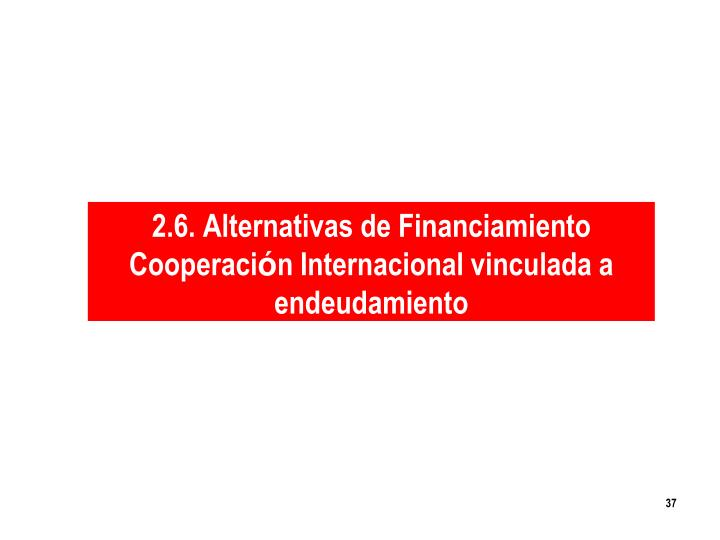 2.6. Alternativas de Financiamiento                      Cooperaci