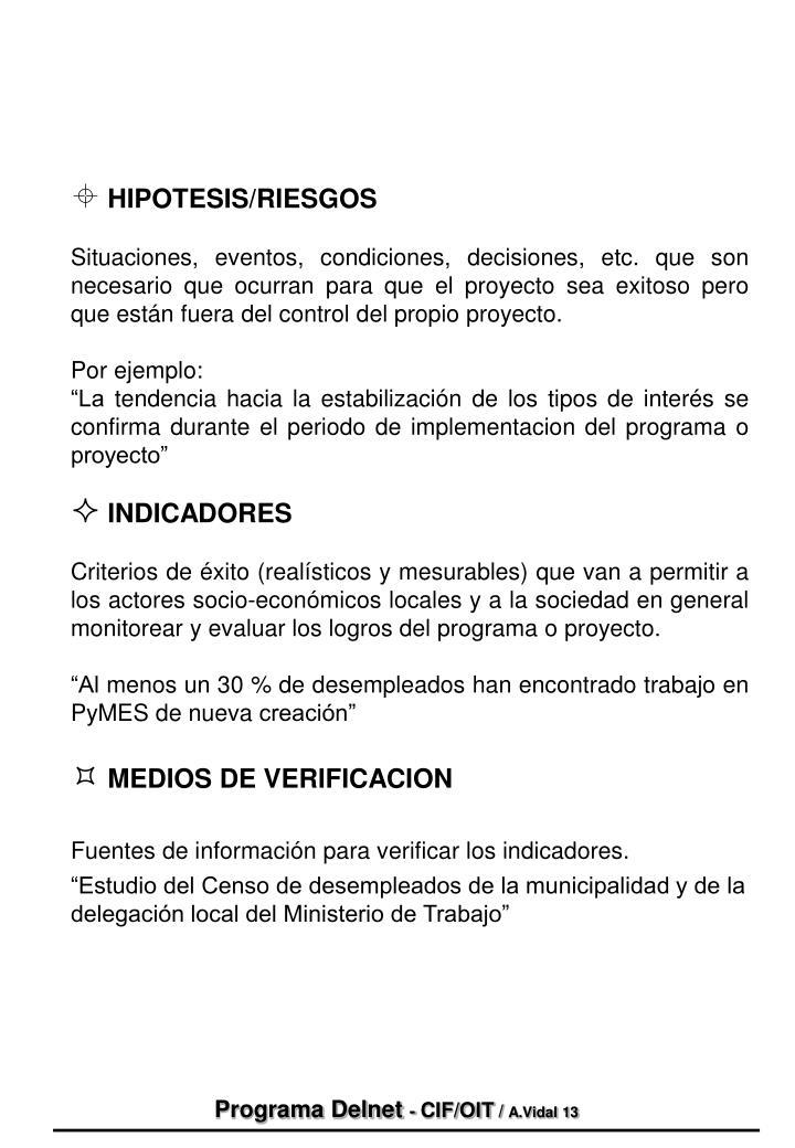HIPOTESIS/RIESGOS