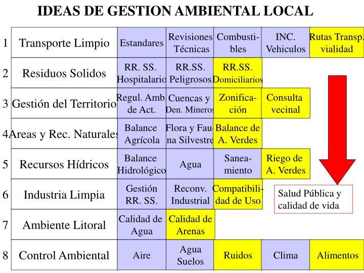 IDEAS DE GESTION AMBIENTAL LOCAL