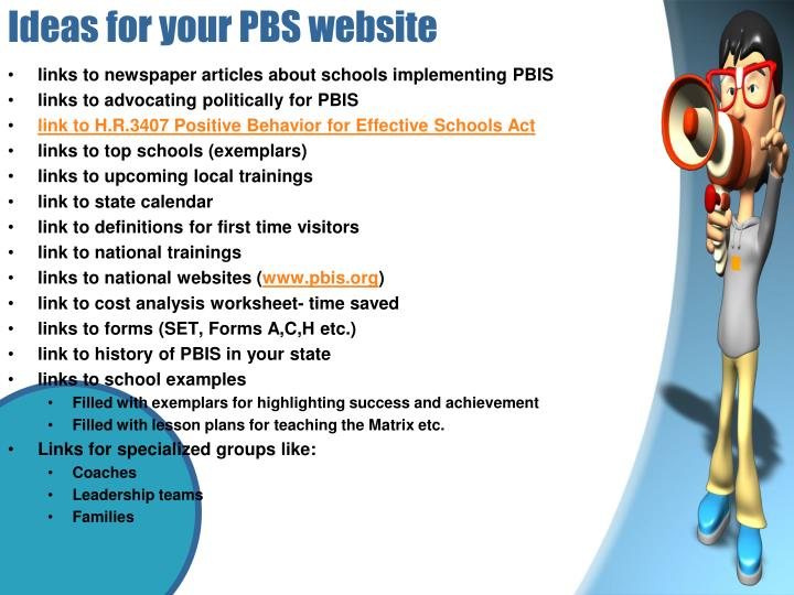 Ideas for your PBS website