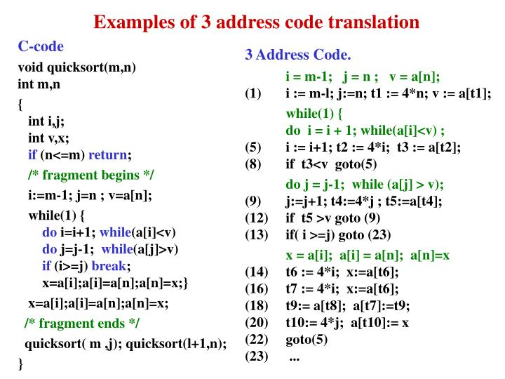 Examples of 3 address code translation
