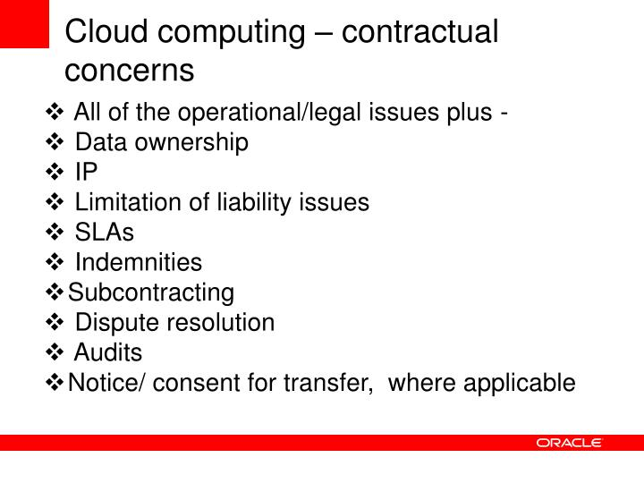 Cloud computing – contractual concerns