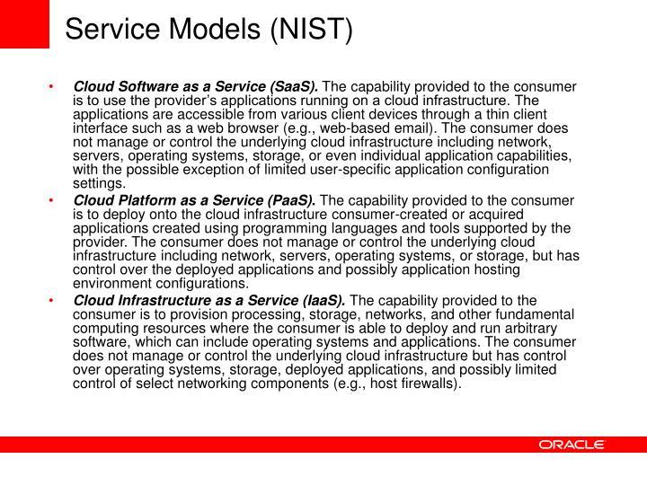 Service Models (NIST)