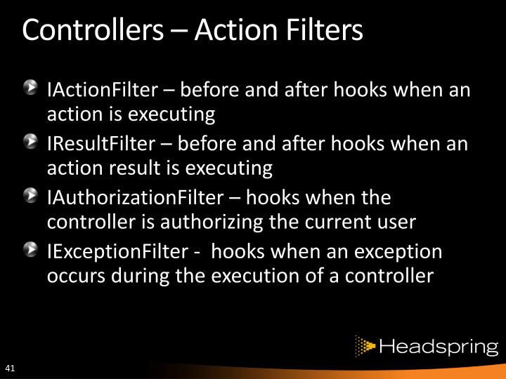 Controllers – Action Filters