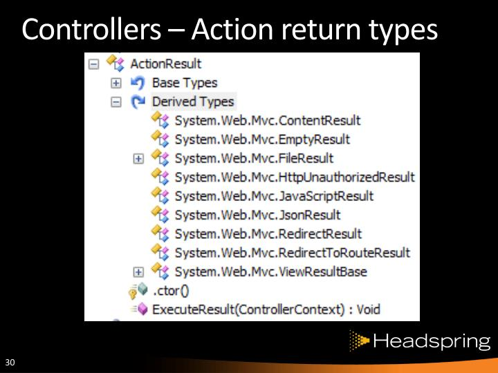 Controllers – Action return types