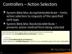 controllers action selectors