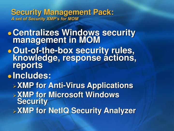 Security Management Pack: