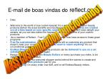 e mail de boas vindas do reflect com