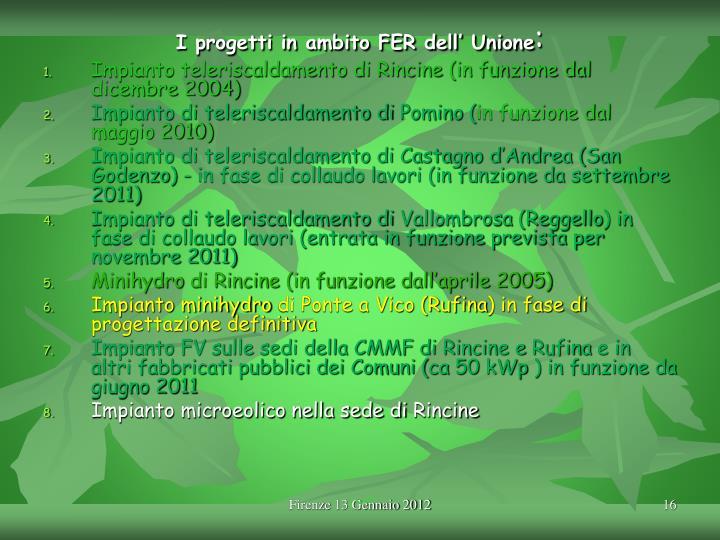 I progetti in ambito FER dell' Unione