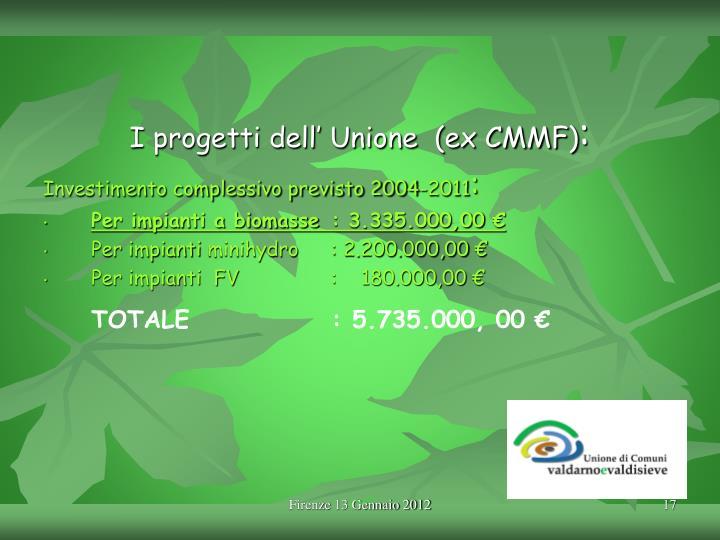 I progetti dell' Unione  (ex CMMF)