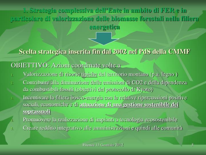 1. Strategia complessiva dell'Ente in ambito di FER e in particolare di valorizzazione delle biomasse forestali nella filiera energetica