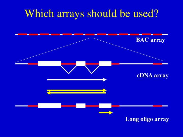 Which arrays should be used?