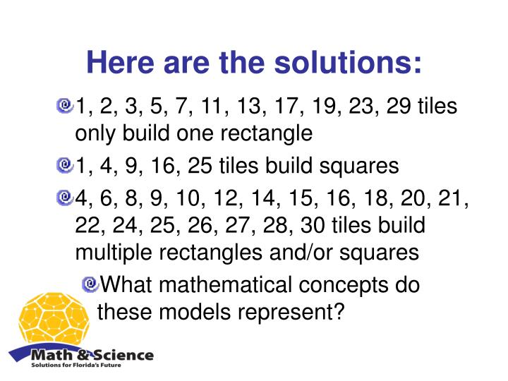 Here are the solutions: