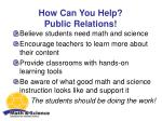 how can you help public relations