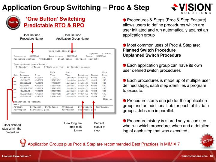 Application Group Switching – Proc & Step