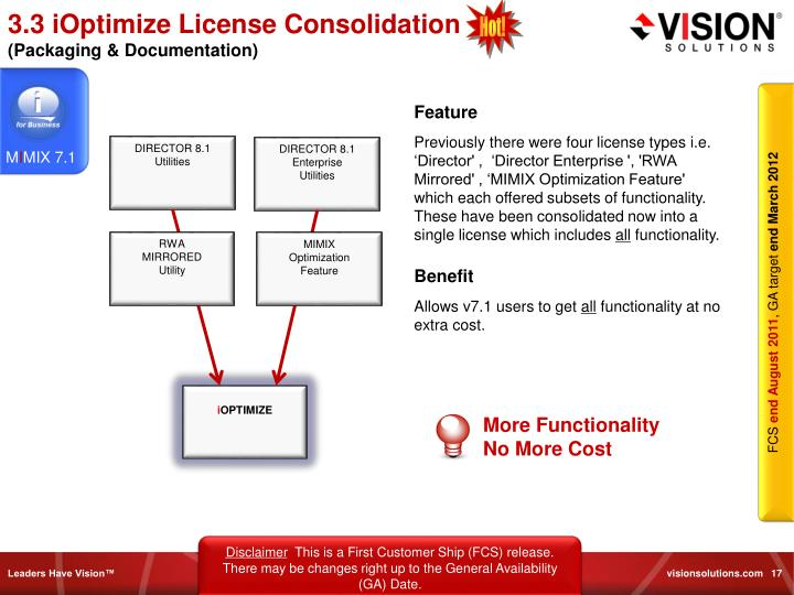 3.3 iOptimize License Consolidation