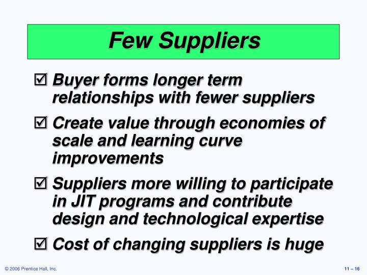 Few Suppliers