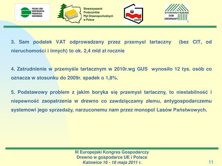 3. Sam podatek VAT odprowadzany przez przemysł tartaczny  (bez CIT, od nieruchomości i innych) to ok. 2,4 mld zł rocznie