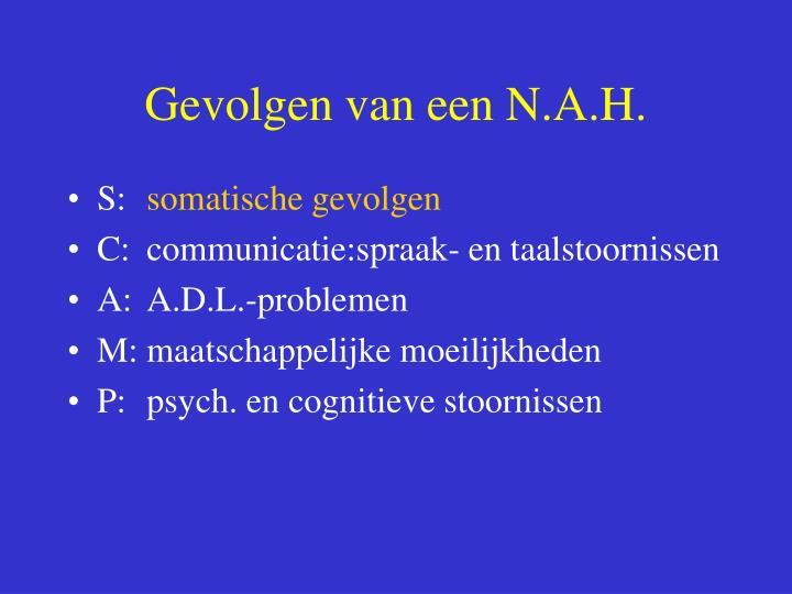 Gevolgen van een N.A.H.