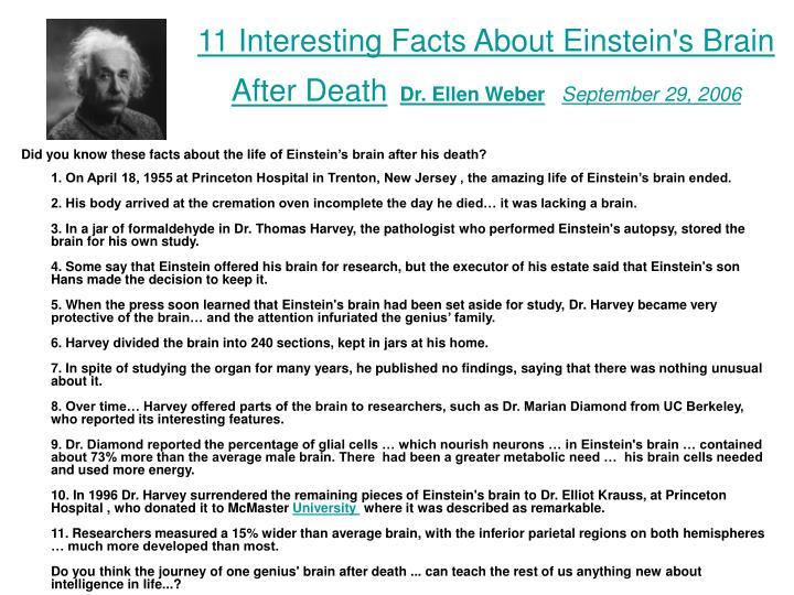 11 Interesting Facts About Einstein's Brain After Death