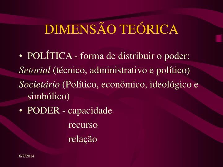 DIMENSÃO TEÓRICA