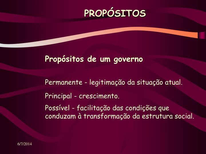 Propósitos de um governo