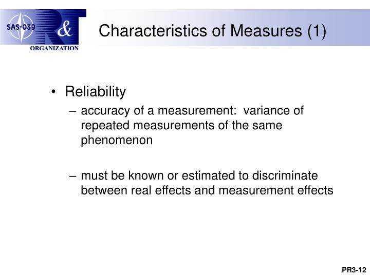 Characteristics of Measures (1)