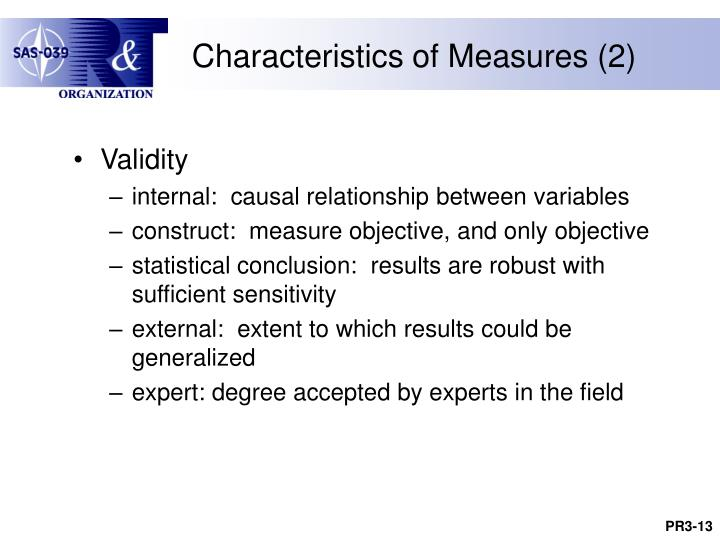 Characteristics of Measures (2)
