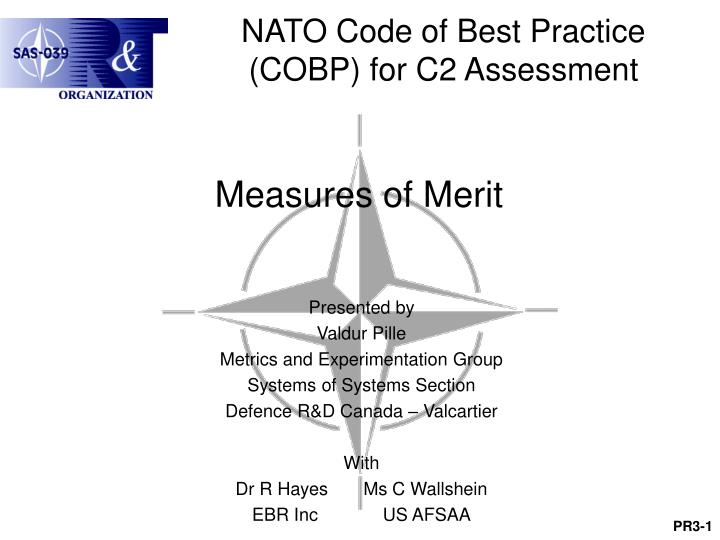 NATO Code of Best Practice (COBP) for C2 Assessment
