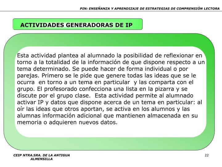 ACTIVIDADES GENERADORAS DE IP