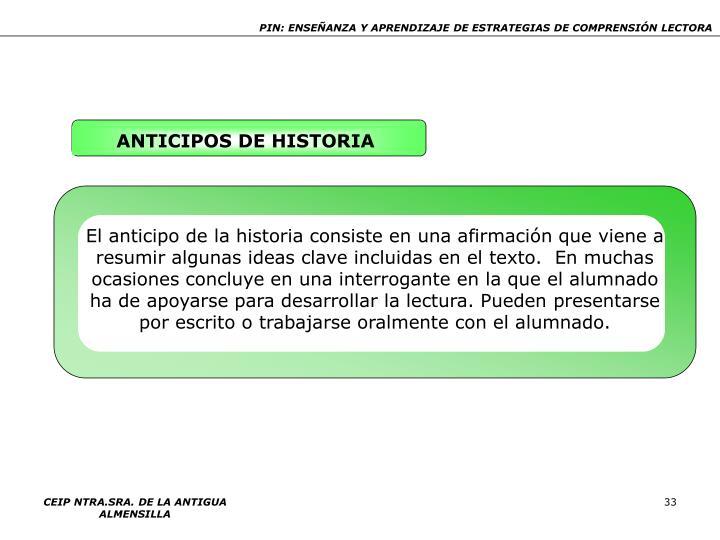 ANTICIPOS DE HISTORIA