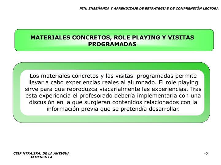 MATERIALES CONCRETOS, ROLE PLAYING Y VISITAS PROGRAMADAS