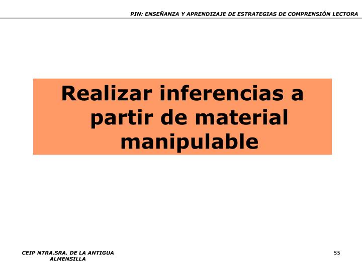 Realizar inferencias a partir de material manipulable