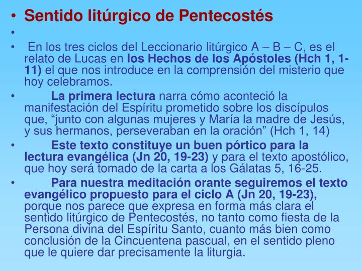 Sentido litúrgico de Pentecostés